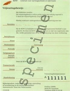 Vrijwaringsbewijs om een auto te vrijwaren